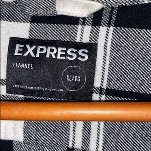 Express Shirts - Express black and white plaid flannel shirt